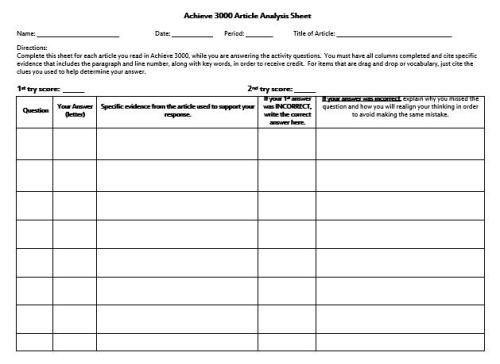 Article Analysis Sheet